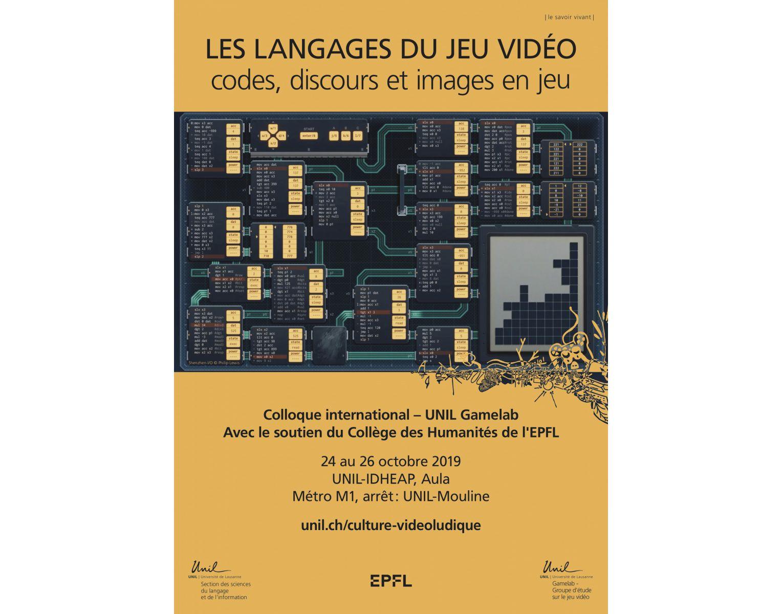 Affiche du colloque - Les langages du jeu vidéo : codes, discours et images en jeu.