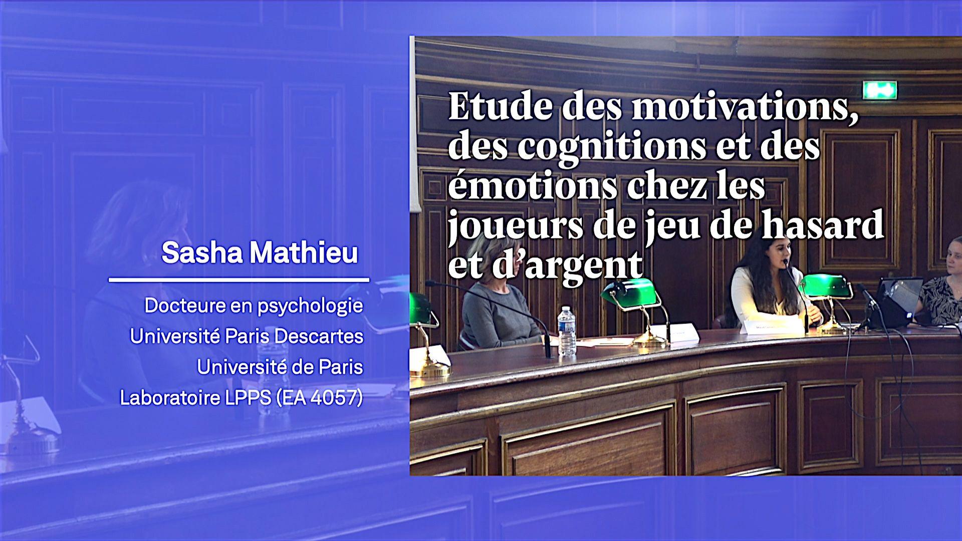 Etude des motivations, des cognitions et des émotions chez les joueurs de jeu de hasard et d'argent - Sasha Mathieu